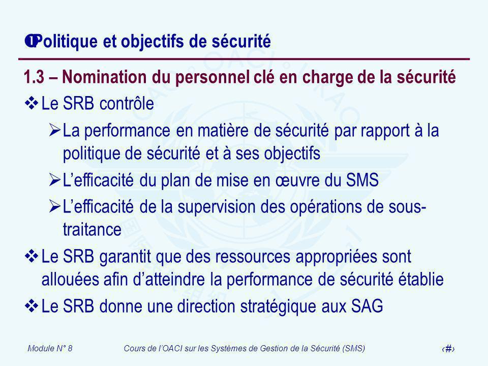 Module N° 8Cours de lOACI sur les Systèmes de Gestion de la Sécurité (SMS) 27 Politique et objectifs de sécurité 1.3 – Nomination du personnel clé en