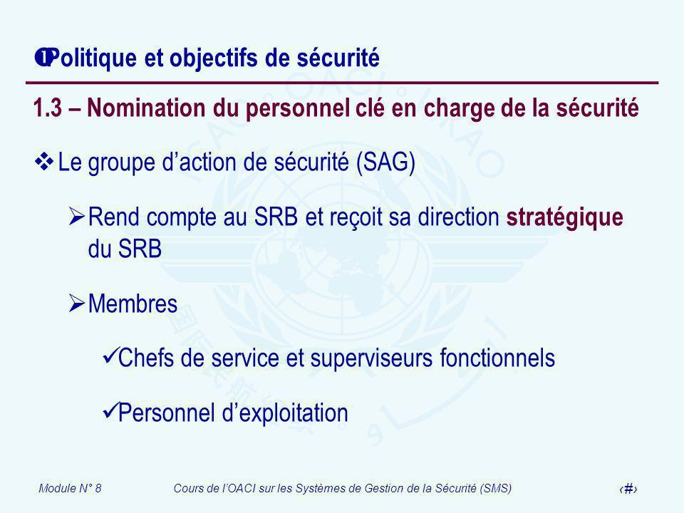 Module N° 8Cours de lOACI sur les Systèmes de Gestion de la Sécurité (SMS) 29 Politique et objectifs de sécurité 1.3 – Nomination du personnel clé en