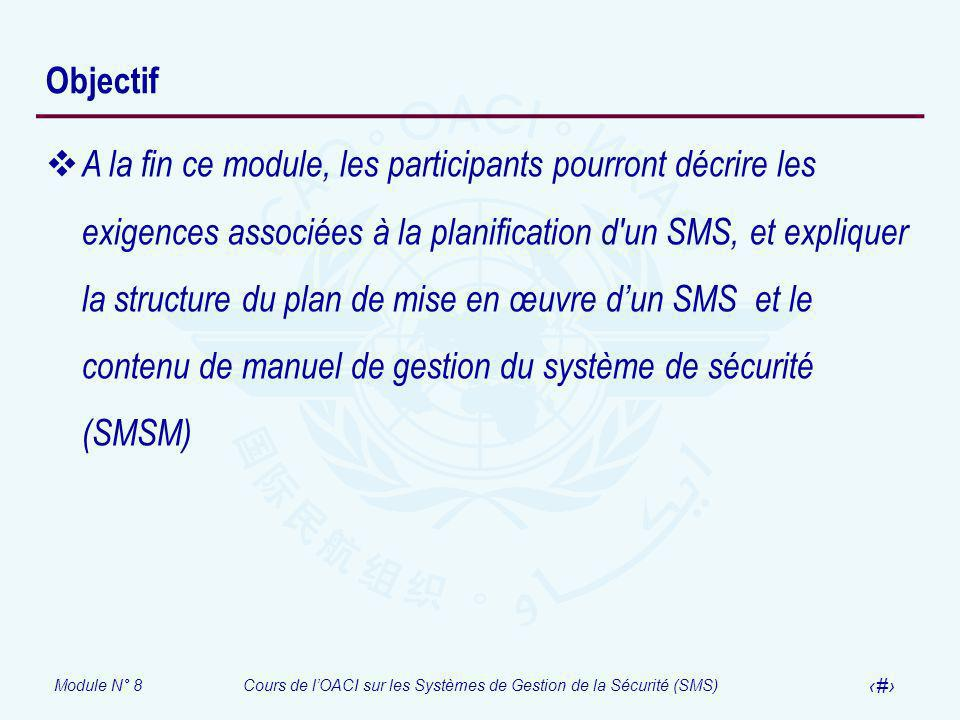 Module N° 8Cours de lOACI sur les Systèmes de Gestion de la Sécurité (SMS) 3 Objectif A la fin ce module, les participants pourront décrire les exigen