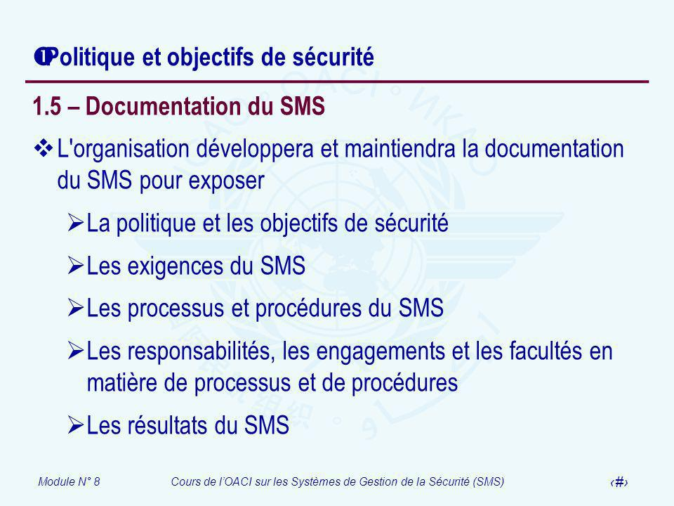 Module N° 8Cours de lOACI sur les Systèmes de Gestion de la Sécurité (SMS) 35 Politique et objectifs de sécurité 1.5 – Documentation du SMS L'organisa