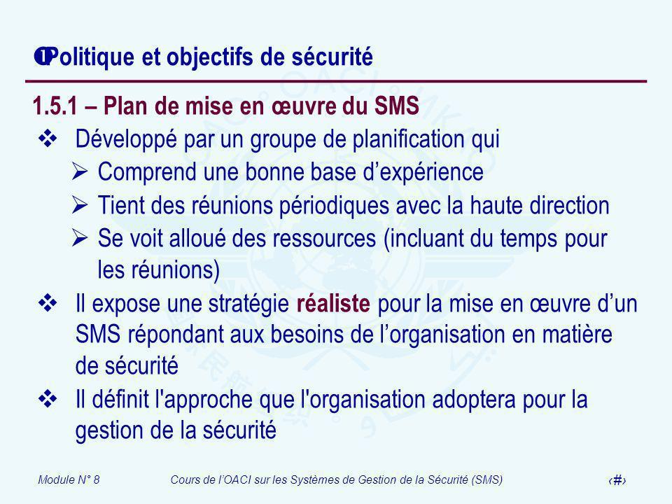 Module N° 8Cours de lOACI sur les Systèmes de Gestion de la Sécurité (SMS) 37 Politique et objectifs de sécurité 1.5.1 – Plan de mise en œuvre du SMS