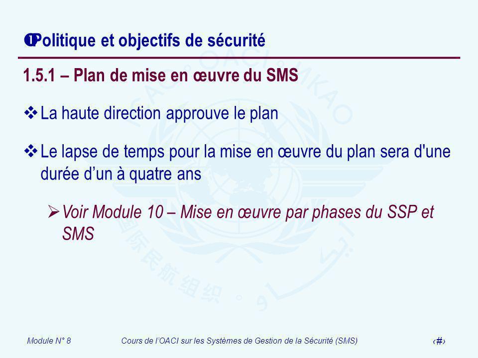 Module N° 8Cours de lOACI sur les Systèmes de Gestion de la Sécurité (SMS) 38 Politique et objectifs de sécurité 1.5.1 – Plan de mise en œuvre du SMS