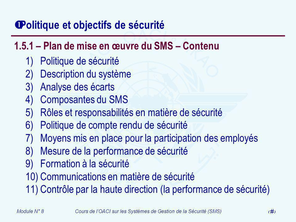 Module N° 8Cours de lOACI sur les Systèmes de Gestion de la Sécurité (SMS) 39 Politique et objectifs de sécurité 1.5.1 – Plan de mise en œuvre du SMS