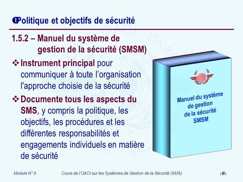 Module N° 8Cours de lOACI sur les Systèmes de Gestion de la Sécurité (SMS) 40 Politique et objectifs de sécurité 1.5.2 – Manuel du système de gestion