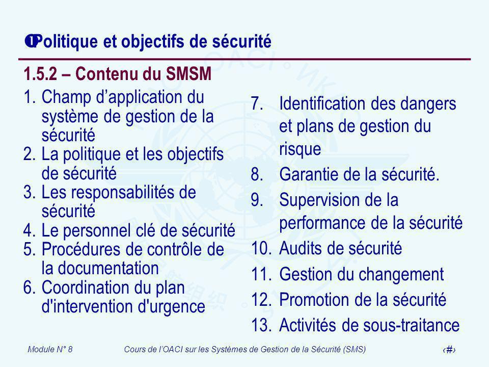 Module N° 8Cours de lOACI sur les Systèmes de Gestion de la Sécurité (SMS) 41 1.5.2 – Contenu du SMSM 1.Champ dapplication du système de gestion de la