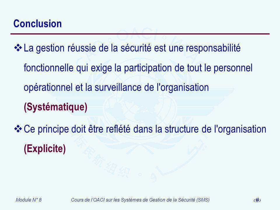 Module N° 8Cours de lOACI sur les Systèmes de Gestion de la Sécurité (SMS) 42 Conclusion La gestion réussie de la sécurité est une responsabilité fonc
