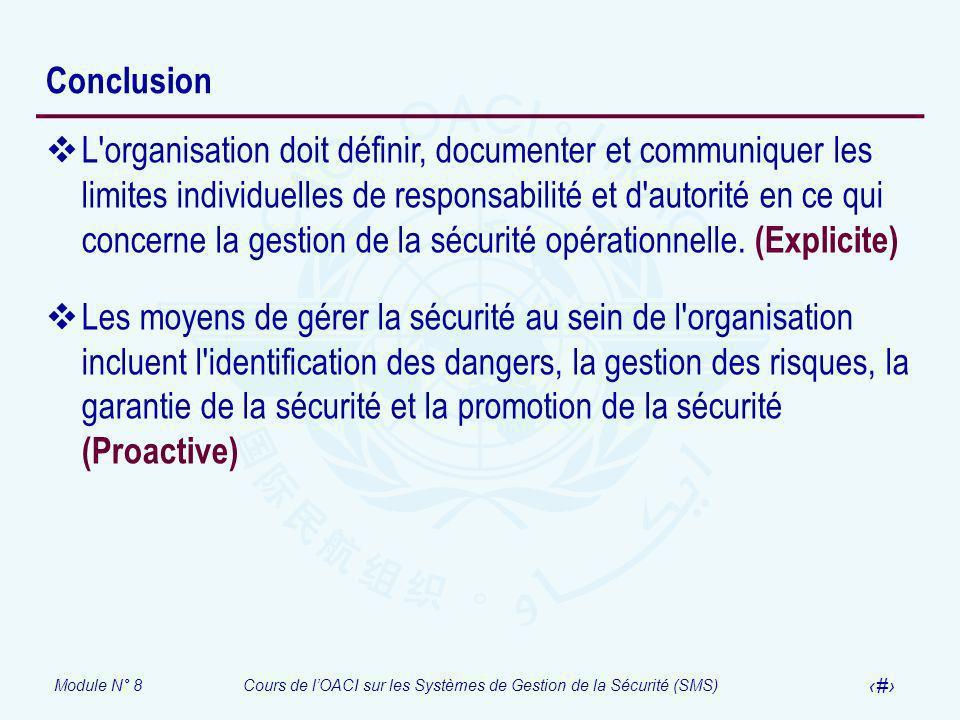 Module N° 8Cours de lOACI sur les Systèmes de Gestion de la Sécurité (SMS) 43 Conclusion L'organisation doit définir, documenter et communiquer les li