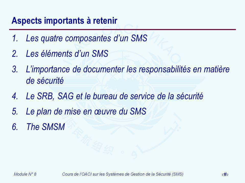 Module N° 8Cours de lOACI sur les Systèmes de Gestion de la Sécurité (SMS) 48 Aspects importants à retenir 1.Les quatre composantes dun SMS 2.Les élém