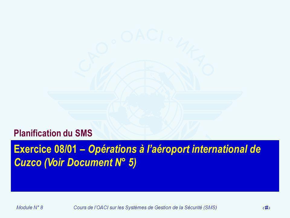 Module N° 8Cours de lOACI sur les Systèmes de Gestion de la Sécurité (SMS) 49 Exercice 08/01 – Opérations à laéroport international de Cuzco (Voir Doc
