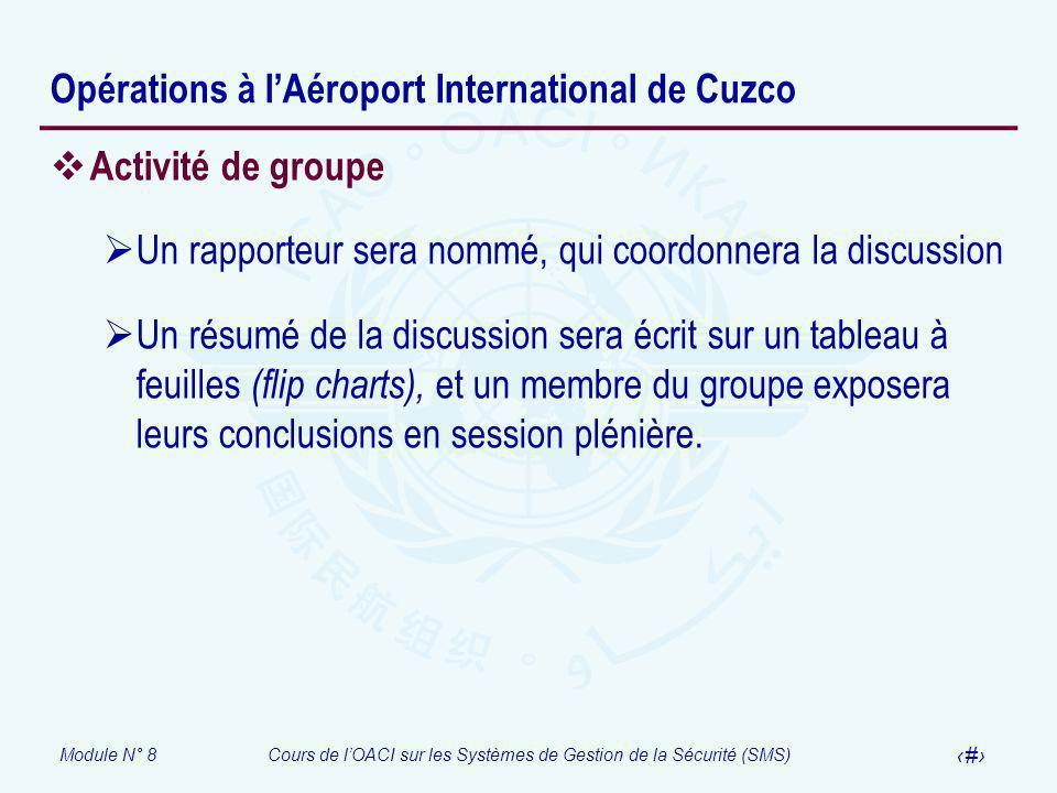 Module N° 8Cours de lOACI sur les Systèmes de Gestion de la Sécurité (SMS) 50 Opérations à lAéroport International de Cuzco Activité de groupe Un rapp