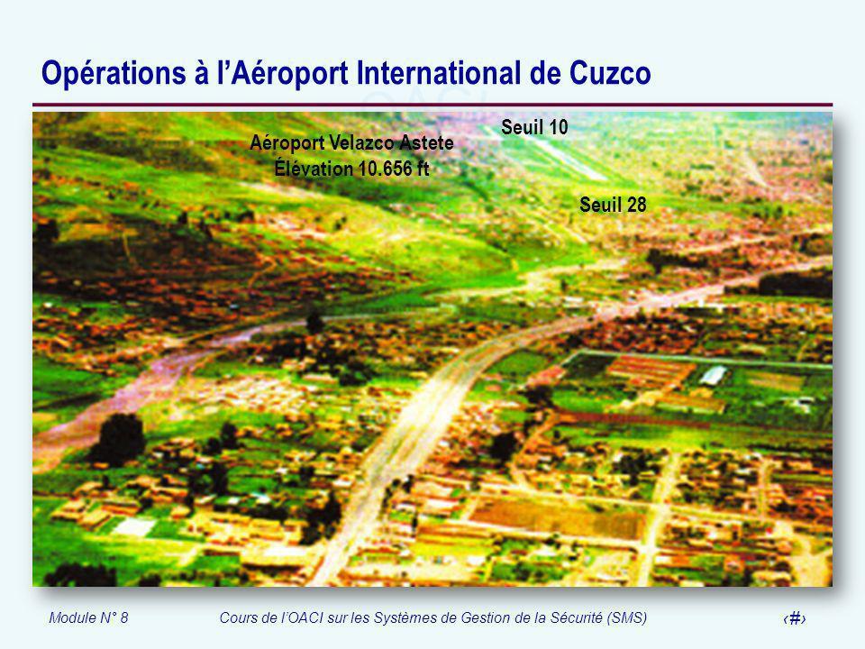 Module N° 8Cours de lOACI sur les Systèmes de Gestion de la Sécurité (SMS) 52 Opérations à lAéroport International de Cuzco Seuil 28 Aéroport Velazco