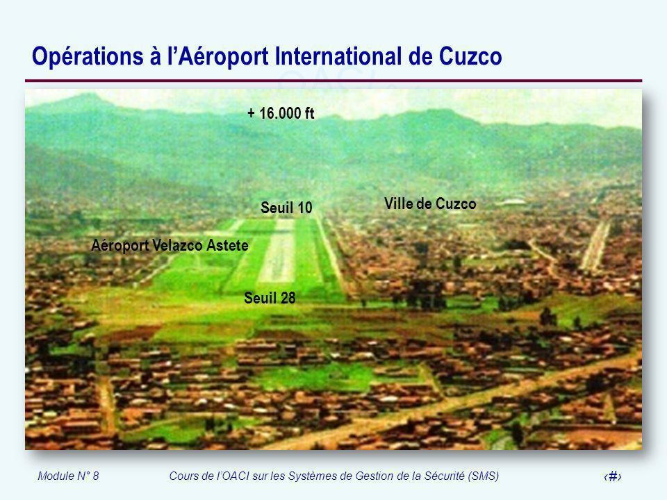 Module N° 8Cours de lOACI sur les Systèmes de Gestion de la Sécurité (SMS) 53 Opérations à lAéroport International de Cuzco + 16.000 ft Ville de Cuzco