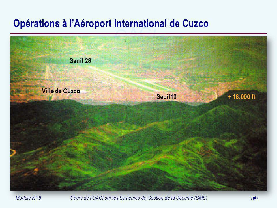 Module N° 8Cours de lOACI sur les Systèmes de Gestion de la Sécurité (SMS) 54 Opérations à lAéroport International de Cuzco Seuil 28 Seuil10 + 16.000