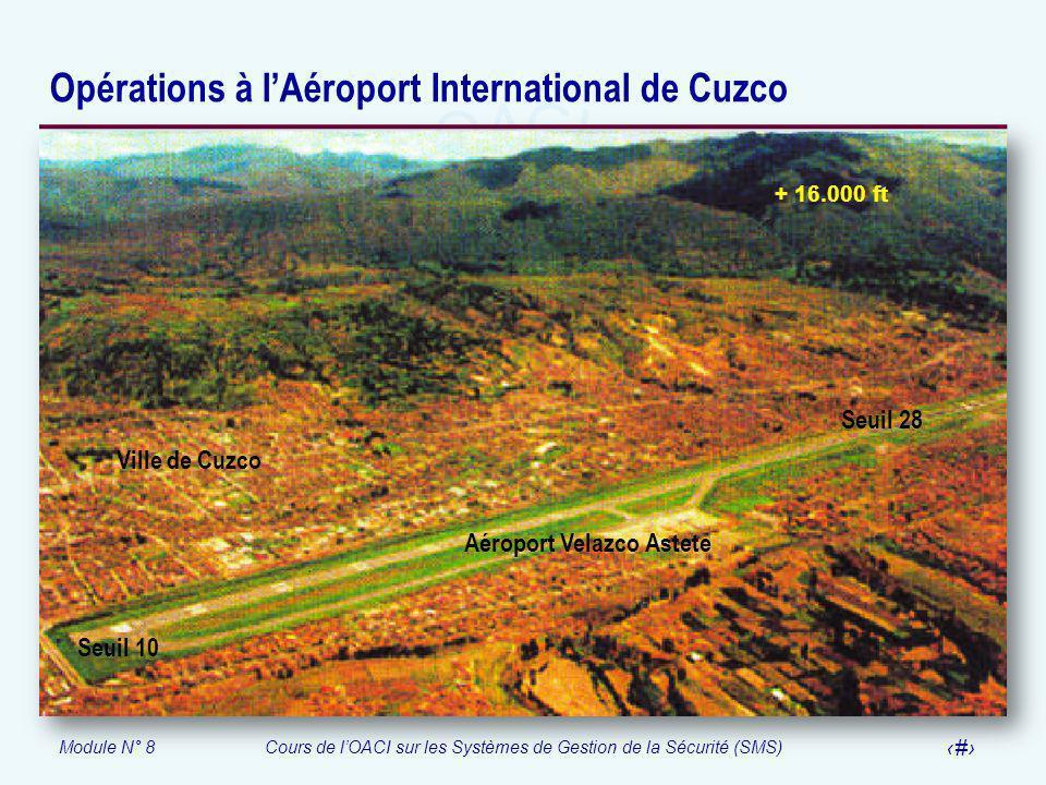 Module N° 8Cours de lOACI sur les Systèmes de Gestion de la Sécurité (SMS) 55 Opérations à lAéroport International de Cuzco Seuil 10 Seuil 28 + 16.000