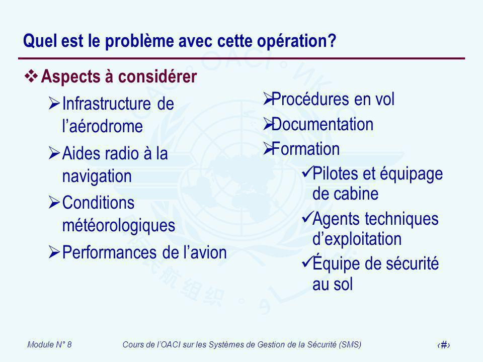 Module N° 8Cours de lOACI sur les Systèmes de Gestion de la Sécurité (SMS) 59 Aspects à considérer Infrastructure de laérodrome Aides radio à la navig