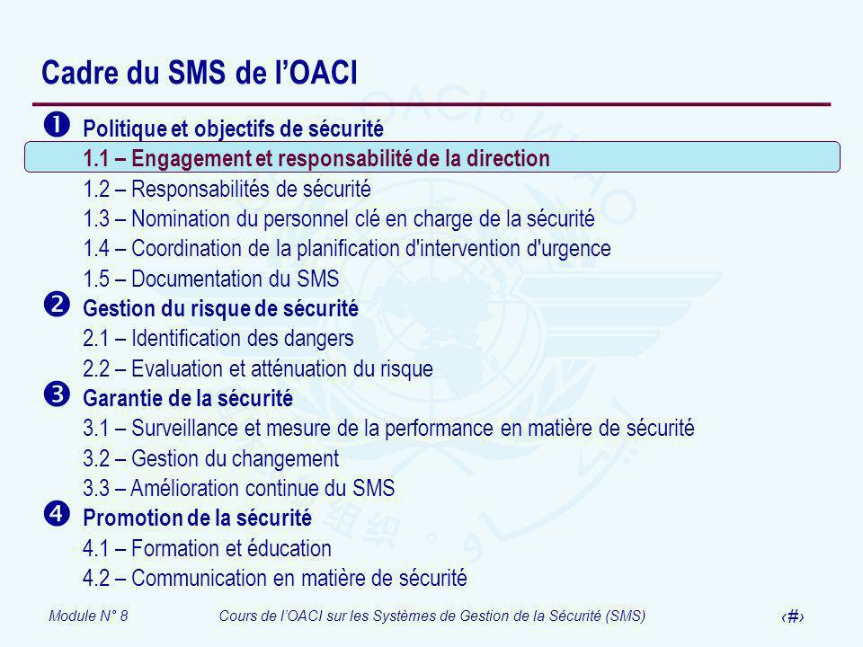 Module N° 8Cours de lOACI sur les Systèmes de Gestion de la Sécurité (SMS) 8 Cadre du SMS de lOACI Politique et objectifs de sécurité 1.1 – Engagement