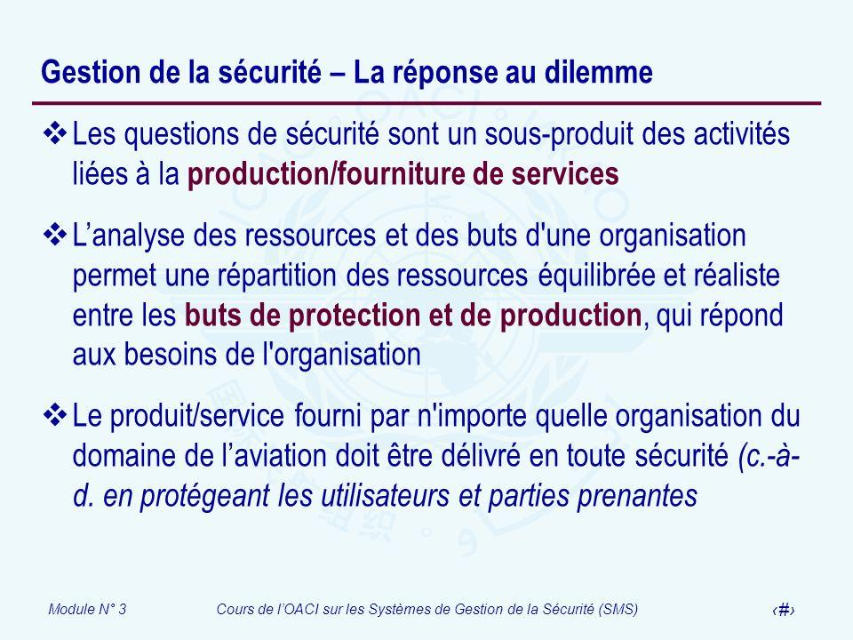 Module N° 3Cours de lOACI sur les Systèmes de Gestion de la Sécurité (SMS) 14 Gestion de la sécurité – La réponse au dilemme Les questions de sécurité