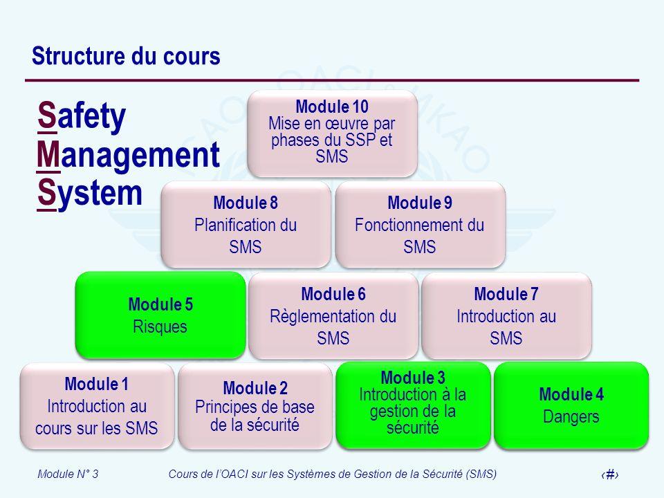 Module N° 3Cours de lOACI sur les Systèmes de Gestion de la Sécurité (SMS) 2 Structure du cours Module 1 Introduction au cours sur les SMS Module 1 In
