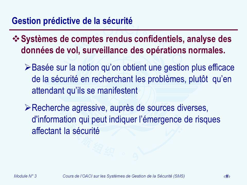 Module N° 3Cours de lOACI sur les Systèmes de Gestion de la Sécurité (SMS) 21 Gestion prédictive de la sécurité Systèmes de comptes rendus confidentie