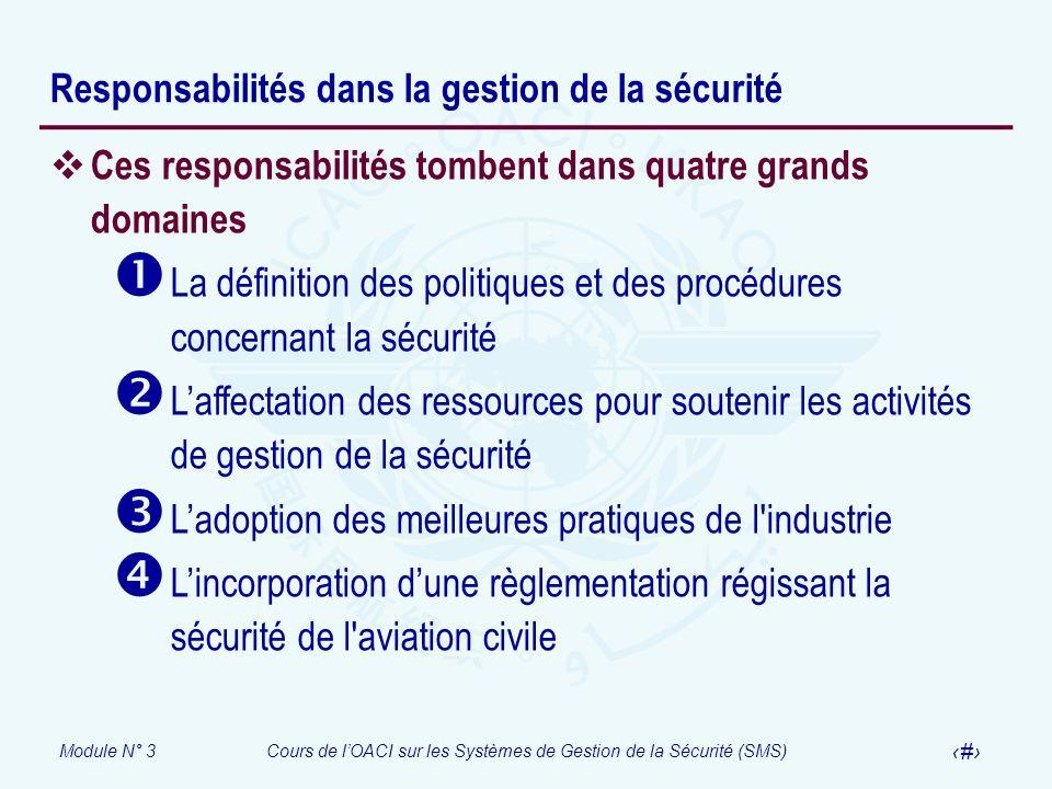 Module N° 3Cours de lOACI sur les Systèmes de Gestion de la Sécurité (SMS) 29 Responsabilités dans la gestion de la sécurité Ces responsabilités tombe