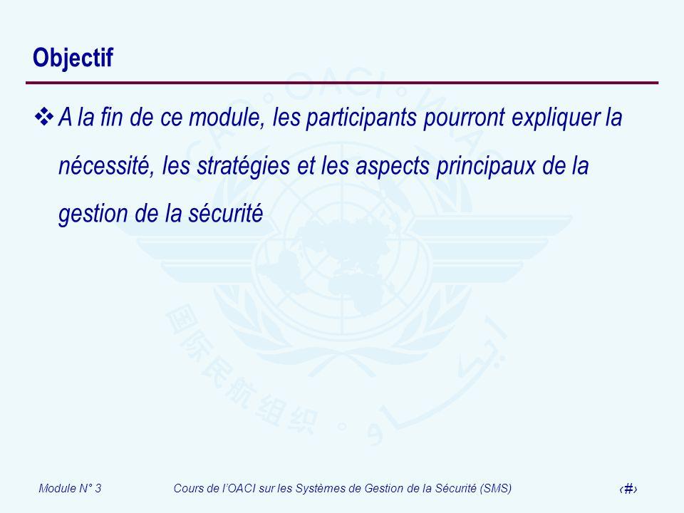 Module N° 3Cours de lOACI sur les Systèmes de Gestion de la Sécurité (SMS) 3 Objectif A la fin de ce module, les participants pourront expliquer la né
