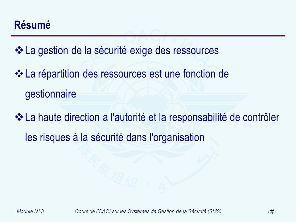 Module N° 3Cours de lOACI sur les Systèmes de Gestion de la Sécurité (SMS) 31 Résumé La gestion de la sécurité exige des ressources La répartition des