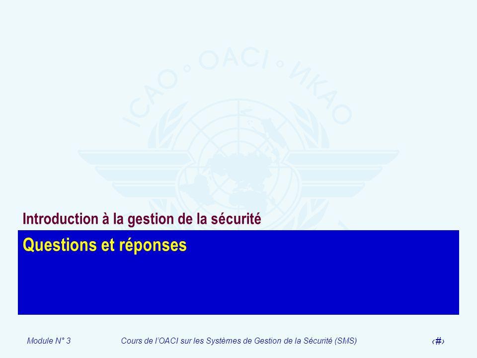 Module N° 3Cours de lOACI sur les Systèmes de Gestion de la Sécurité (SMS) 34 Questions et réponses Introduction à la gestion de la sécurité