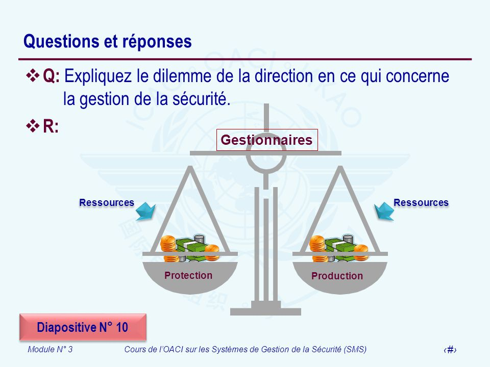 Module N° 3Cours de lOACI sur les Systèmes de Gestion de la Sécurité (SMS) 35 Questions et réponses Q: Expliquez le dilemme de la direction en ce qui