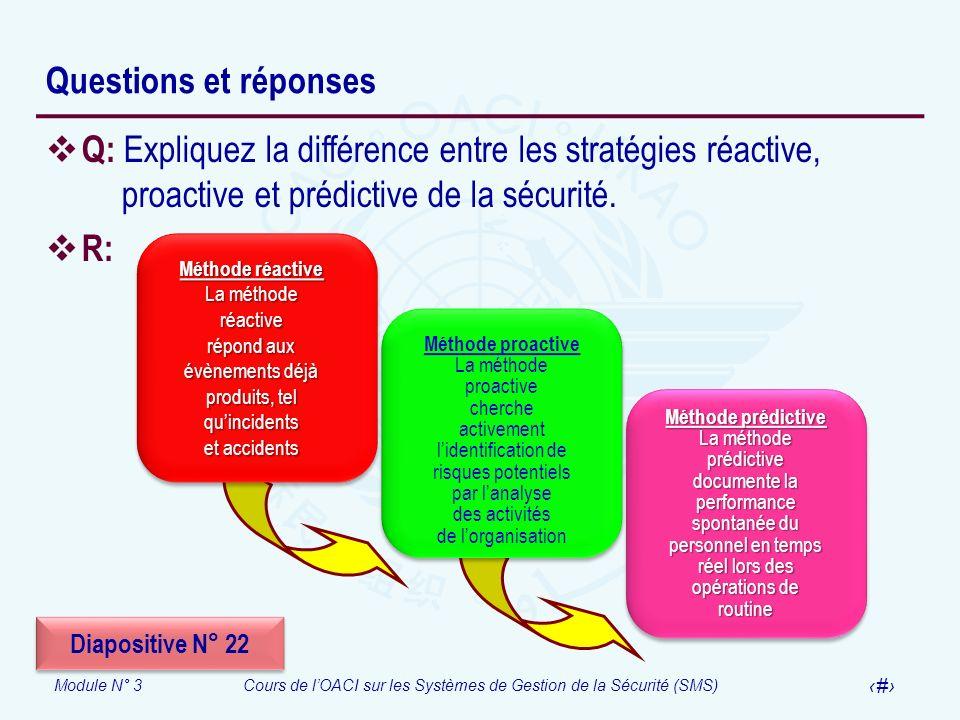 Module N° 3Cours de lOACI sur les Systèmes de Gestion de la Sécurité (SMS) 36 Questions et réponses Q: Expliquez la différence entre les stratégies ré