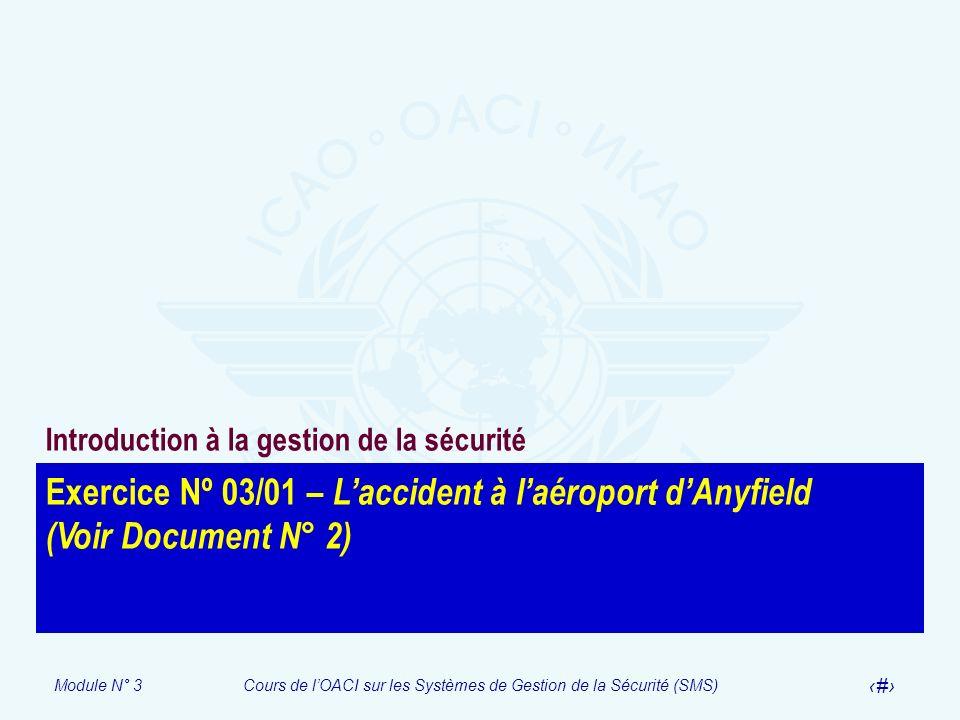 Module N° 3Cours de lOACI sur les Systèmes de Gestion de la Sécurité (SMS) 41 Exercice Nº 03/01 – Laccident à laéroport dAnyfield (Voir Document N° 2)