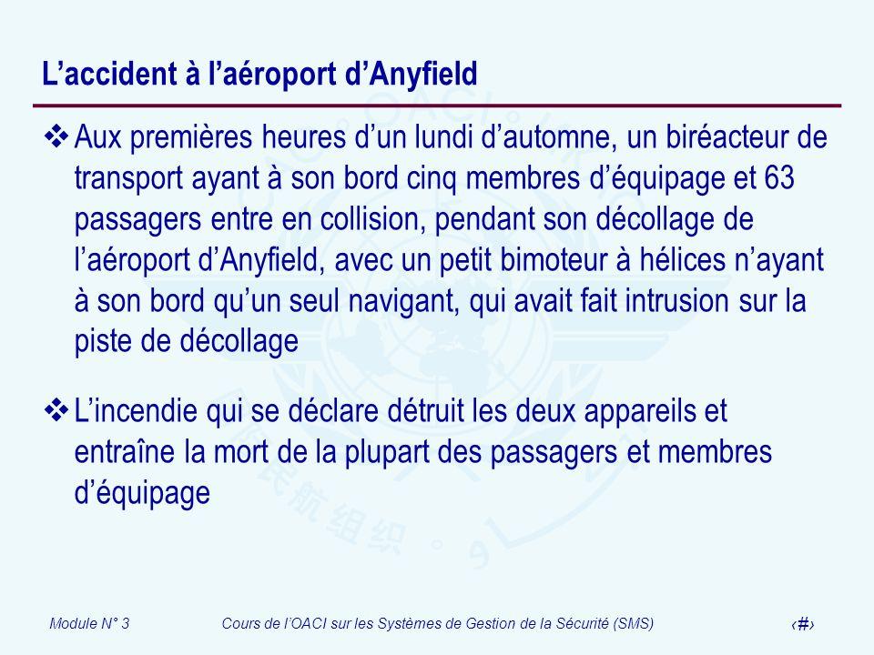 Module N° 3Cours de lOACI sur les Systèmes de Gestion de la Sécurité (SMS) 42 Laccident à laéroport dAnyfield Aux premières heures dun lundi dautomne,