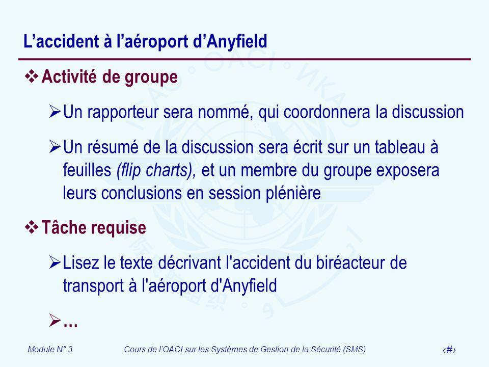 Module N° 3Cours de lOACI sur les Systèmes de Gestion de la Sécurité (SMS) 43 Laccident à laéroport dAnyfield Activité de groupe Un rapporteur sera no