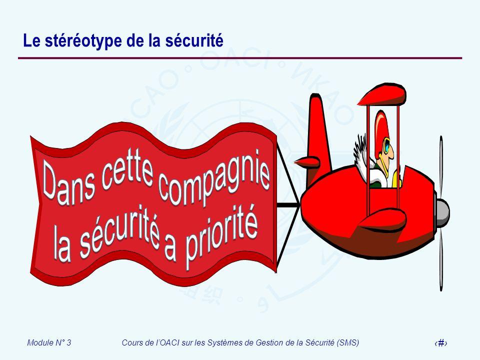 Module N° 3Cours de lOACI sur les Systèmes de Gestion de la Sécurité (SMS) 5 Le stéréotype de la sécurité