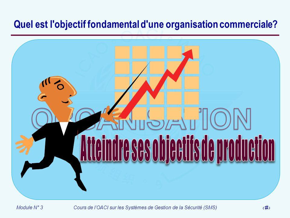 Module N° 3Cours de lOACI sur les Systèmes de Gestion de la Sécurité (SMS) 8 Quel est l'objectif fondamental d'une organisation commerciale?