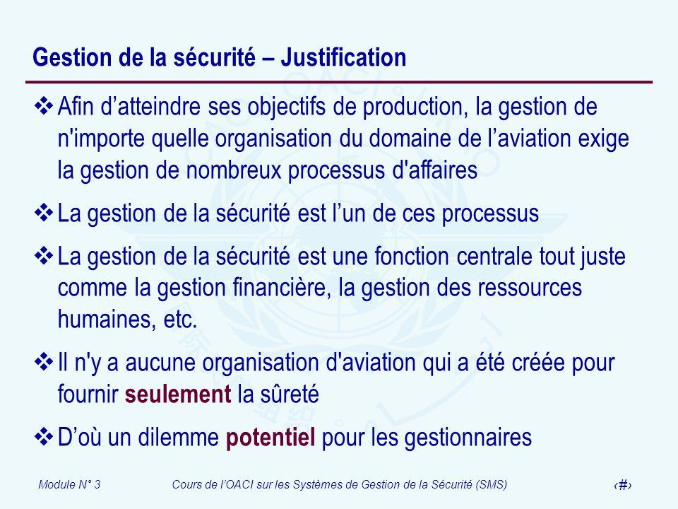 Module N° 3Cours de lOACI sur les Systèmes de Gestion de la Sécurité (SMS) 9 Gestion de la sécurité – Justification Afin datteindre ses objectifs de p