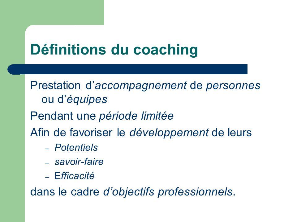 Définitions du coaching Prestation daccompagnement de personnes ou déquipes Pendant une période limitée Afin de favoriser le développement de leurs – Potentiels – savoir-faire – Efficacité dans le cadre dobjectifs professionnels.