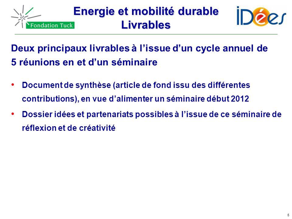 5 Energie et mobilité durable Livrables Deux principaux livrables à lissue dun cycle annuel de 5 réunions en et dun séminaire Document de synthèse (ar