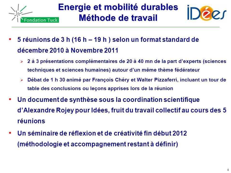 6 Energie et mobilité durables Méthode de travail 5 réunions de 3 h (16 h – 19 h ) selon un format standard de décembre 2010 à Novembre 2011 2 à 3 pré