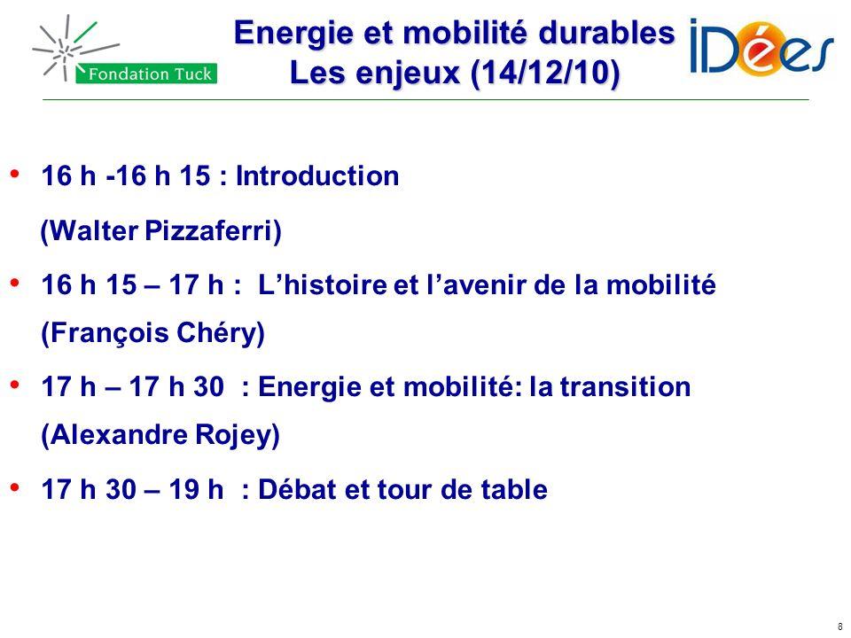 8 Energie et mobilité durables Les enjeux (14/12/10) 16 h -16 h 15 : Introduction (Walter Pizzaferri) 16 h 15 – 17 h : Lhistoire et lavenir de la mobi