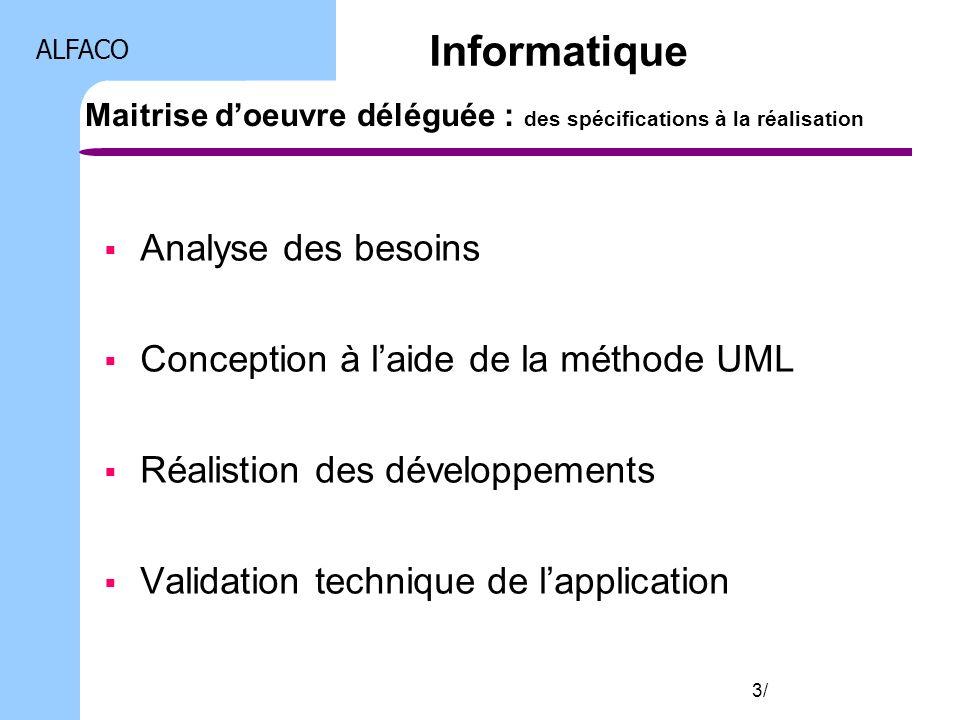 ALFACO 3/ Maitrise doeuvre déléguée : des spécifications à la réalisation Analyse des besoins Conception à laide de la méthode UML Réalistion des déve