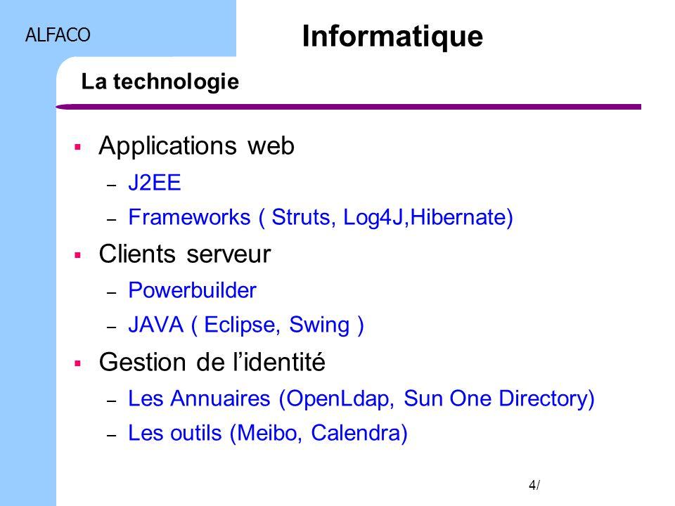 ALFACO 4/ La technologie Applications web – J2EE – Frameworks ( Struts, Log4J,Hibernate) Clients serveur – Powerbuilder – JAVA ( Eclipse, Swing ) Gest