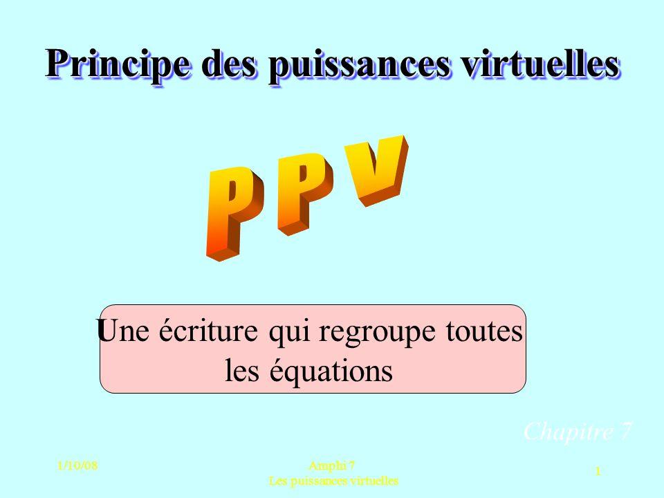 1/10/08Amphi 7 Les puissances virtuelles 1 Principe des puissances virtuelles Chapitre 7 Une écriture qui regroupe toutes les équations