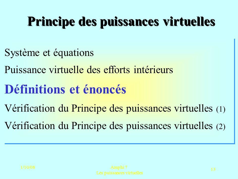 1/10/08Amphi 7 Les puissances virtuelles 13 Principe des puissances virtuelles