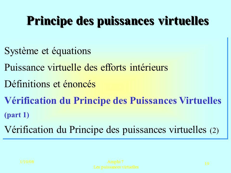 1/10/08Amphi 7 Les puissances virtuelles 19 Principe des puissances virtuelles Système et équations Puissance virtuelle des efforts intérieurs Définit