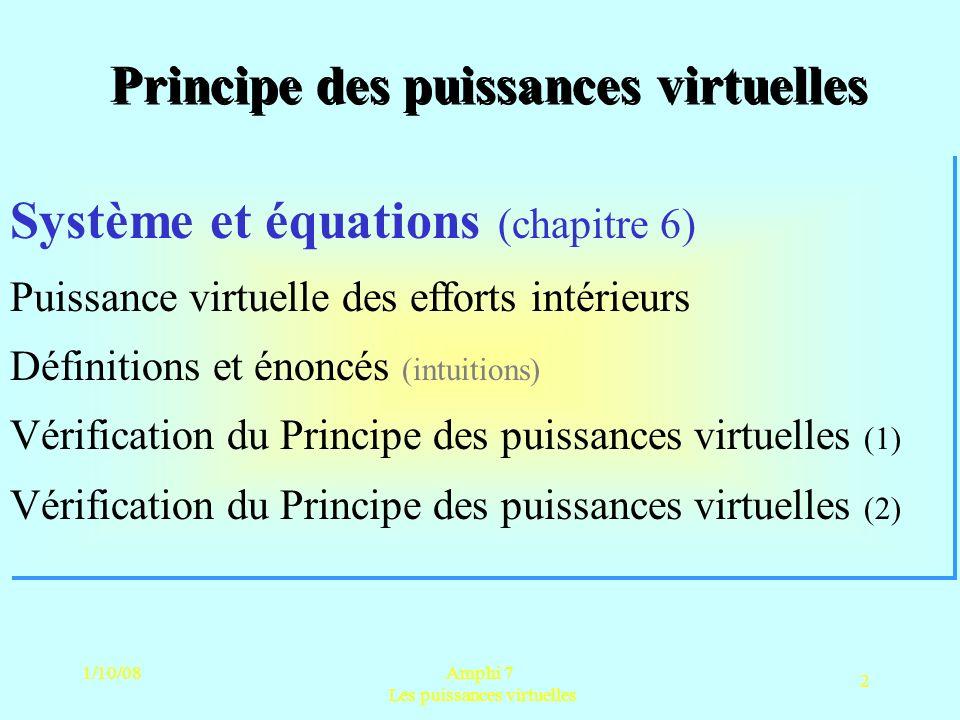 1/10/08Amphi 7 Les puissances virtuelles 3 Le sous-système matériel Champ forces volumiques Efforts de contact Efforts intérieurs (contraintes) Efforts daccélération