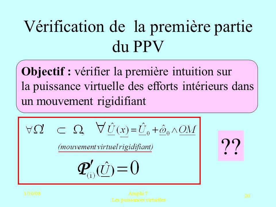 1/10/08Amphi 7 Les puissances virtuelles 20 Vérification de la première partie du PPV Objectif : vérifier la première intuition sur la puissance virtu
