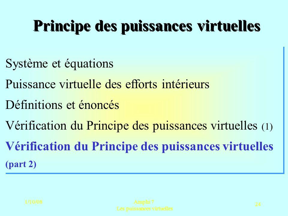 1/10/08Amphi 7 Les puissances virtuelles 24 Principe des puissances virtuelles
