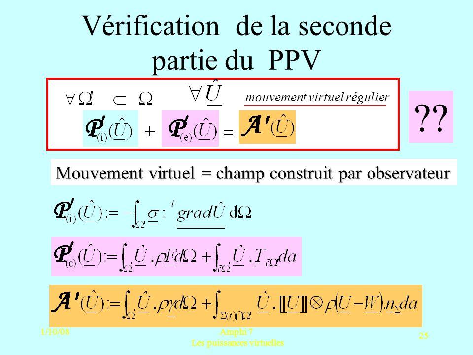 1/10/08Amphi 7 Les puissances virtuelles 25 Vérification de la seconde partie du PPV ?? mouvement virtuel régulier Mouvement virtuel = champ construit