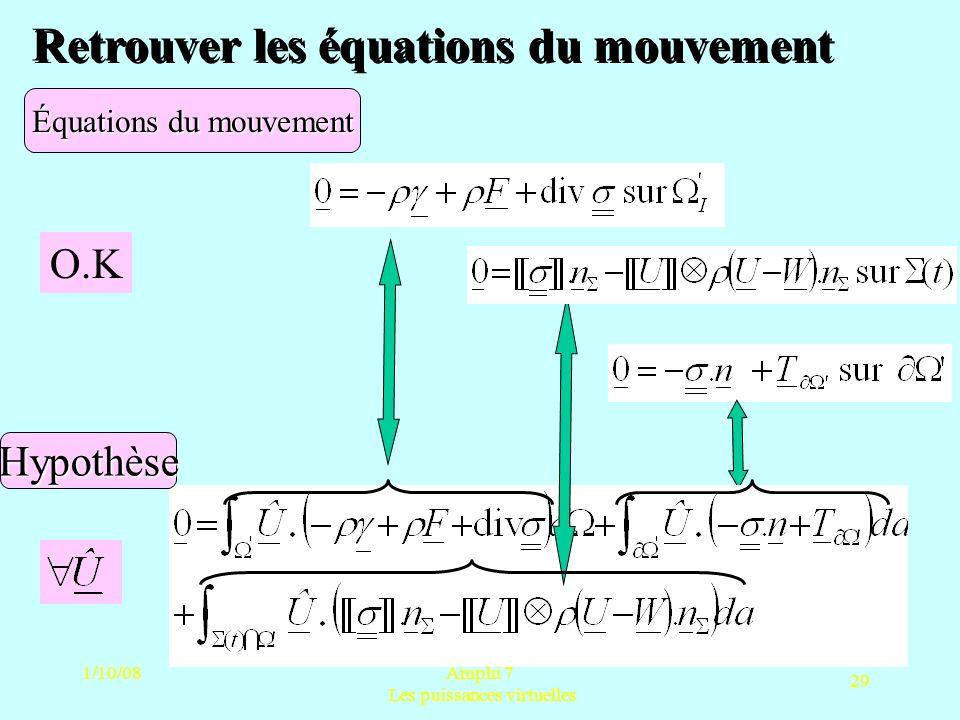 1/10/08Amphi 7 Les puissances virtuelles 29 Retrouver les équations du mouvement Équations du mouvement Hypothèse O.K