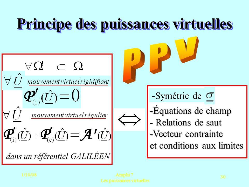 1/10/08Amphi 7 Les puissances virtuelles 30 Principe des puissances virtuelles -Équations de champ - Relations de saut -Vecteur contrainte et conditio